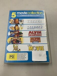 5 MOVIES The Simpsons / Alvin and The Chipmunks 1 & 2 / Ice Age 1 & 2 / (5-DVD)