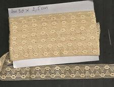 DENTELLE ENTRE- DEUX  FIL DE LIN ECRU 4m30 x 2,5 cm CREATIONS COIFFE RIDEAUX