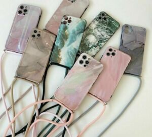 Luxury Laser Marble Marmoreal Lanyard Wrist Strap Phone Case For iPhone 12 11 XS
