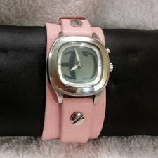 Mint Fossil BIG TIC Women's Watch JR-8295 Pink Leather Strap NEW BATTERIES!