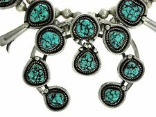 Navajo Sterling Silver Kingman Nugget Turquoise Squash Blossom 6mm Bead Necklace