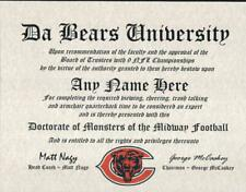 CHICAGO BEARS  NFL FAN  ~ CERTIFICATE ~ DIPLOMA ~MAN CAVE ~ OFFICE ~ GIFT