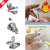 Stainless Steel Ring Knitting Sewing Tools Finger Wear Thimble Yarn Adjustable