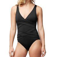 Tommy Bahama Womens Swimwear Black Size 10 Twist Surplice One Piece $140- 950