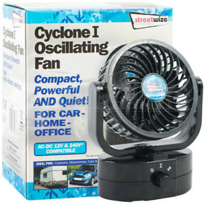 12v Oscillating Air Fan 360°  Dual Speed Ideal For Car Van Home 240v Compatible