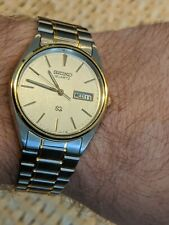 Vintage Seiko Men's Watch  5H23 8A09 Working Near Mint 2 Tone Day Date