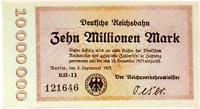 1923 Germany REICHSBAHN 10.000.000 / 10 Million  Mark Banknote