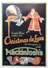 1934 Santa Claus Christmas de Luxe Mackintosh's Toffee Advertising Art Ad
