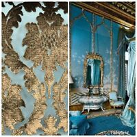 Novelty Italian Burnout Damask Chenille Velvet Fabric Bronze & Teal- Upholstery