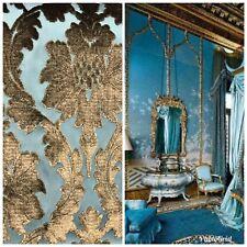 SWATCH- Italian Burnout Damask Chenille Velvet Fabric Bronze & Teal- Upholstery