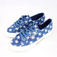 SUPERGA sneaker scarpe 2750 numero 41 BLU DENIM STRAPPATO opitik tessile NP 99