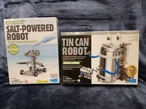 Lot Of 2 Green Science Tin Can Robot & Salt Powered Robot NEW Sealed