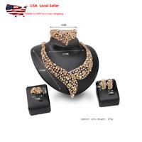 Women Wedding Gold Plated Crystal Zircon Necklace Bracelet Earrings Ring Jewelry