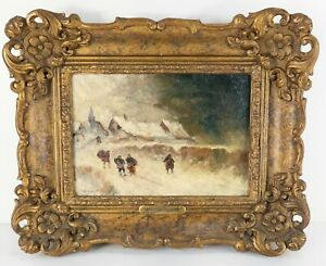 Antique 19th Century Oil Painting on Canvas Auguste Van Hier Town Scene Framed