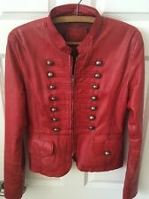 Ladies Red Leather Military Style Steam Punk Jacket L/ Size 12