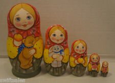 Russian Matryoshka - Wooden Nesting Dolls - 5 Pieces Unique Coloring - Set #10