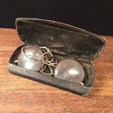 Vintage Eyeglasses Safety Glasses Round w Case Broken Steampunk PRIORITY MAIL e