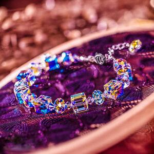 Luxury 18K White Gold Cube Crystal Charm Bracelet Beaded Bangle Jewellery Gifts