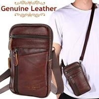 Men Real Leather Fashion Phone Pouch Belt Bag Shoulder Crossbody Waist Pack