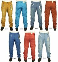 Men's ETO New Cuffed Twisted Leg Desiner Jeans Regular Fit Pants In 7 Colours