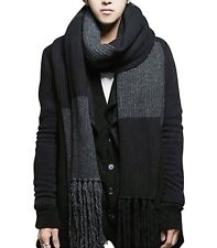 Fashion Womens Men Winter Warm Black Knit Soft Knitted Long Scarf Shawl Stock