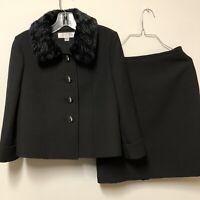 Tahari By ASL Women's Skirt Suit Midnight Black 2 Faux Fur Collar Size 4p Petite