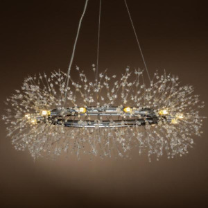 12 Light Chandelier Glam Starburst Branch Pendant Light Chrome Circle Star Ring