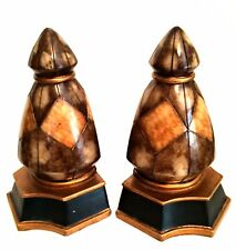 Modern Bookends Brown Black Gold Trim Quality Heavy Resin 7.25 inches Tall