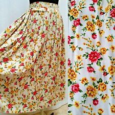 Vintage FLORAL PRINT FULL MIDI SKIRT - Lined - Rumi Young Casual - Waist 23 in.