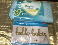 Pampers Registry Gift/Includes SampleOfWipes & Diaper/ HELLO BABY Ballon Inclu..