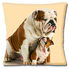 "English Bulldog Adult & Pup Cushion Cover 16""x16"" 40cm 'Looking Up To Dad' Cream"