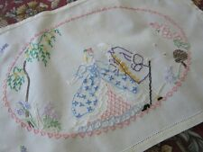 More details for vint. hand embroidered tray dressing table cloth - crinoline lady & beau 19x13