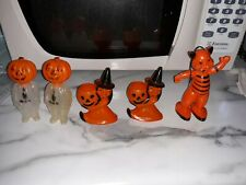 Vintage Halloween 4 Rosbro Hard-Plastic Candy Holders/Containers