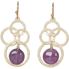 NEW Purple Amethyst Stone and Interlocking Goldtone Circles Dangle Earrings