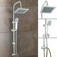 Shower Mixer Thermostatic set Square Round Chrome Hose Riser Kit Luxury Bathroom