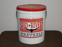 "VINTAGE OLD FOOD 14"" HIGH NEIMAN MARCUS RED RIVER PRETZELS LARGE TIN CAN *EMPTY*"