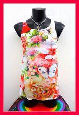 Gay Interest Size S Floral Fashion Singlet Multi Top Sport Vest Beach Fit Multi