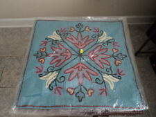 """Hand Embroidered Pillow Cover New 18"""" Square"""