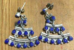 Boucles D'oreilles Ancienne Vintage Pendantes Lapis-lazuli Blue Antique Earrings