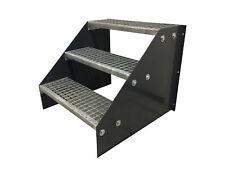 3 stufige freistehende Stahltreppe Standtreppe Breite 90cm Höhe 63cm Schwarz