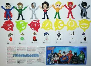 JUSTICE LEAGUE COMPLETE SET WITH ALL PAPERS KINDER SURPRISE 2019 DC COMICS