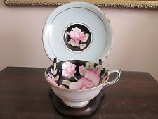 Vintage Paragon England Handpainted Tea Cup And Saucer Black Light Blue Roses