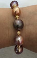 "charming 12-13mm south sea baroque multicolor pearl bracelet 7.5-8"""