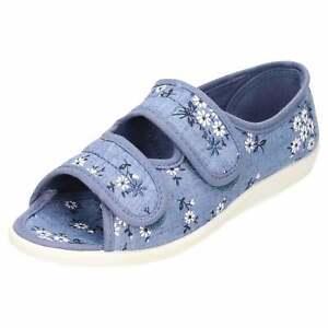 Ladies Open Toe Slipper Shoe Low Wedge Heel Blue Adjustable Flat Floral Comfy