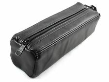 New Black Real Genuine Leather Zipped Large Pencil Case Make-Up Bag Tool Box
