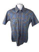 Vintage HOLT Mens Western Short Sleeve Shirt Pearl Snap M Plaid Blue Rockabilly