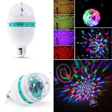 LAMPADINA 3 LED SFERA RGB MULTICOLORE FARO LAMPADA ROTANTE AUTOMATICA 3W E27