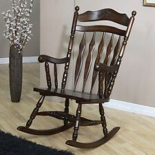 Country Style Wood Rocking Chair in a Walnut Finish by Coaster 600187