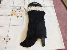 Collectible Boot Sock Leg Warmer Charlotte Daniel Black Off White Lace CUTE