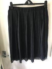 Tu Black Pleated Skirt Size 14 Wedding Christening Evening Wear